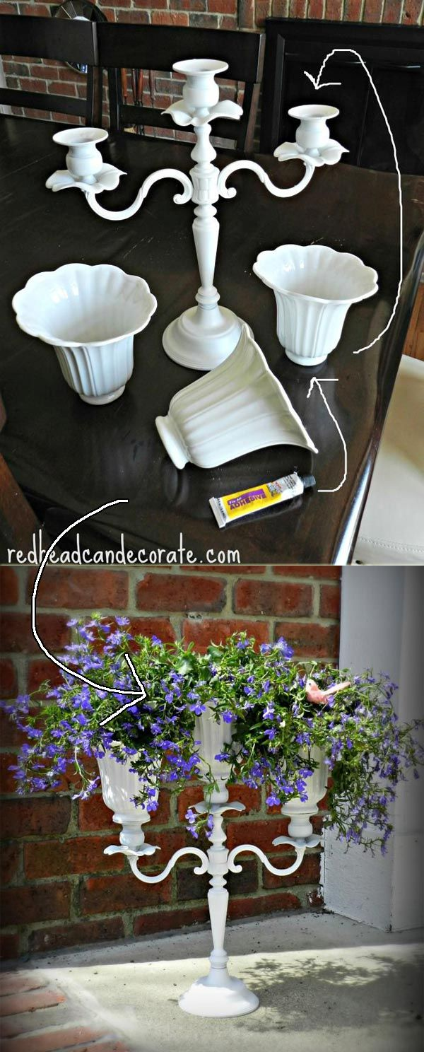 Display candelabra planter with upcycled ceiling fan shades on your front porch #recycling