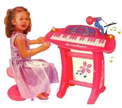 "Set size in inches: 20""x9""x8"" Package Includes: Pink Electric Piano Keyboard Microphone Stand (for the electric piano) Chair You are viewing a brand new Pin"