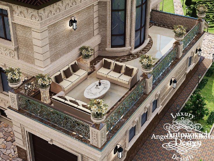 фасад дома, дизайн балкона загородного дома с мансардой. Фото 2016 - Дизайн экстерьера