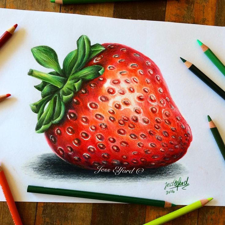 Realistic strawberry drawing by Jess Elford. Drawn with prismacolor pencils.