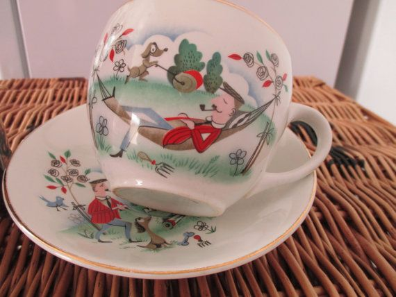 Father in Hammock  Midcentury Teacup & Saucer Circa by AtticBazaar, £5.50