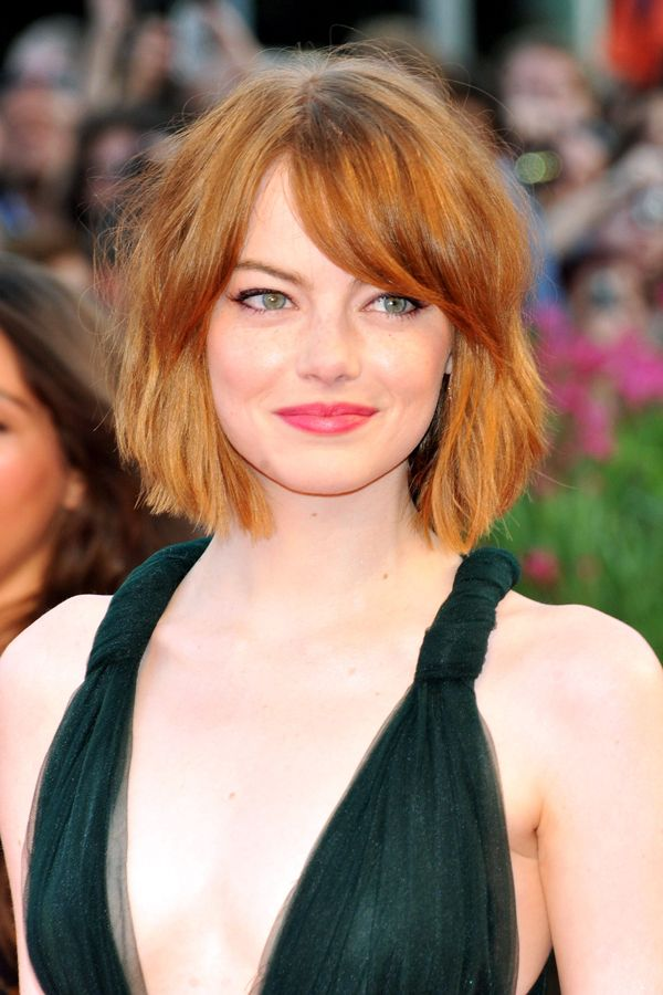 Read This Before You Get Bangs #refinery29  http://www.refinery29.com/should-i-get-bangs#slide2  Side-Swept: Emma Stone  Heart-shaped faces look great with a side-sweep, says Monzon. It breaks up the forehead and softens the point of your chin for a more balanced effect.