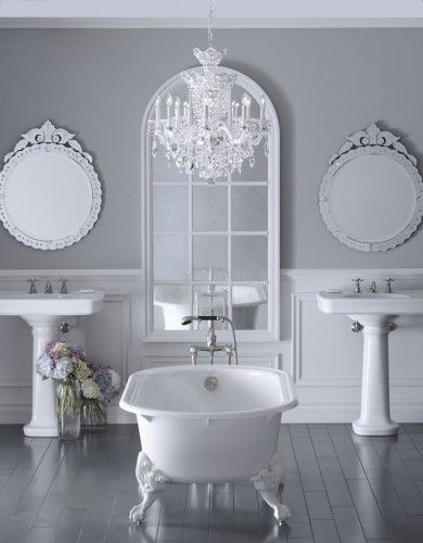 Soft Grey Wall Color For Classic Bathroom Ideas With White Clawfoot Tub Design And Decorative Mirrors Bathroom Design Feminine Bathroom Design Ideas To