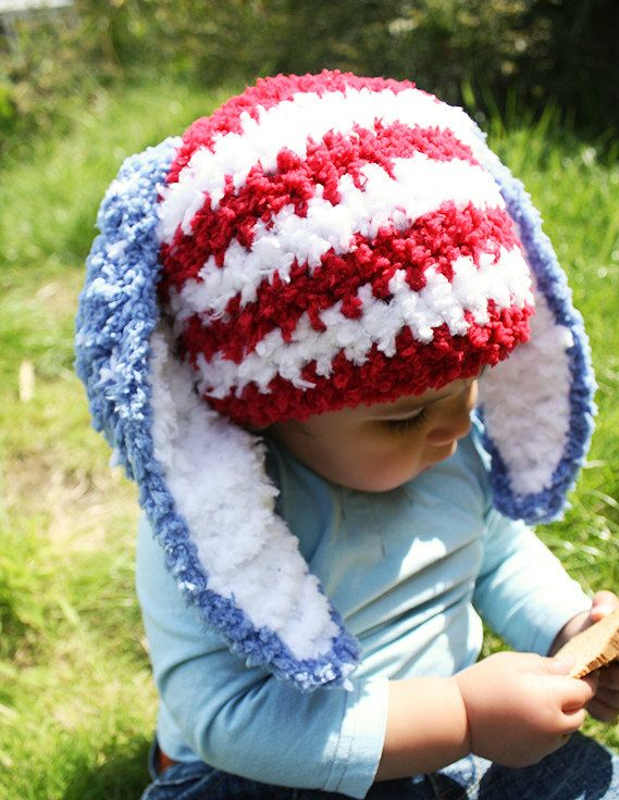 USA flag style patriotic Easter bunny hat with blue ears, white spots and red and white stripes. Handmade with love by Babamoon - size 3 to 6m - can be made in other colours and sizes!