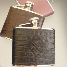 Leather hip flasks