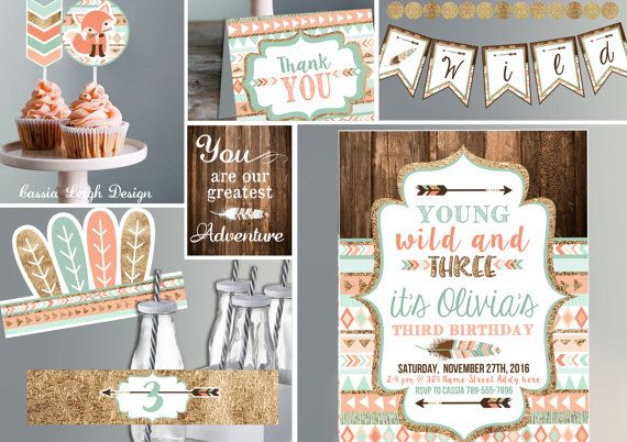 Young Wild and Three  Coral Teal and Gold  by CassiaLeighDesign