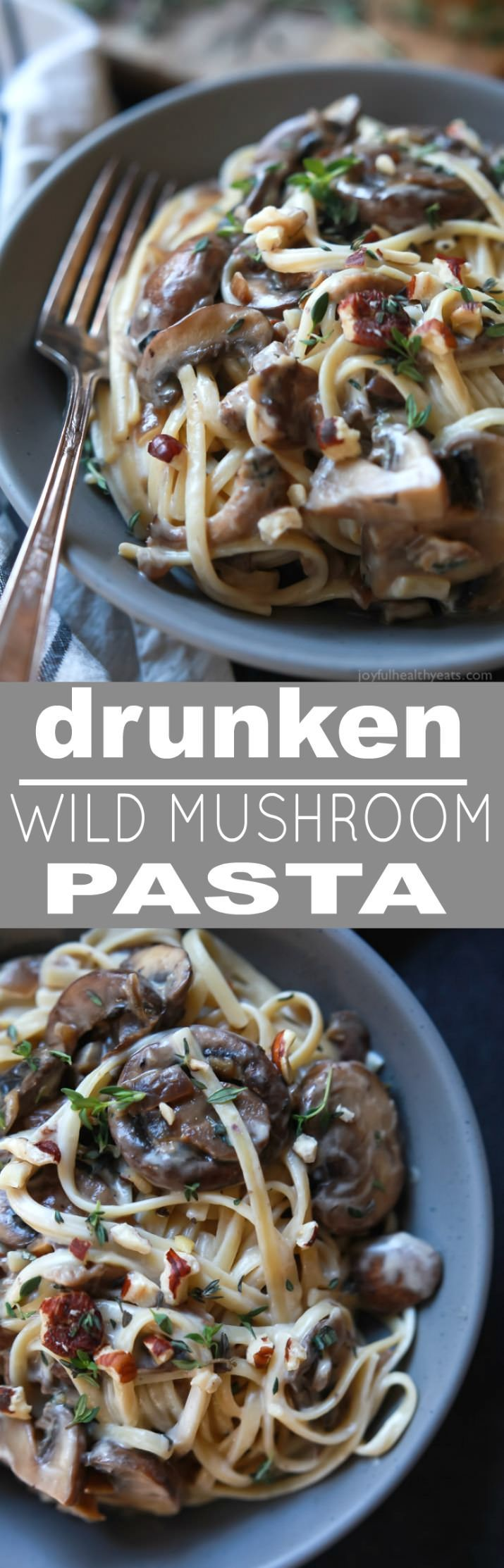 Drunken Wild Mushroom Pasta with a Creamy Goat Cheese Sauce - this recipe is total comfort food! Easy, done in just 30 minutes, only 331 calories, and vegetarian | joyfulhealthyeats.com