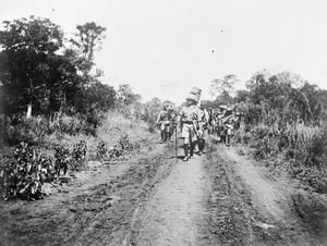 WWI, Jan 1917; Artillery unit of the Nigeria Regiment on the march in German East Africa. ©IWM