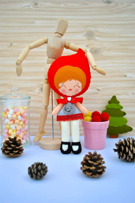 #felt #doll #red #riding #hood #toy #minimez #baby #etsy #gift #cute