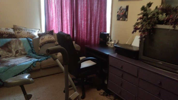 Lounge room changed to bedroom changed to storage room reclaimed as my study/storage/bike room :)