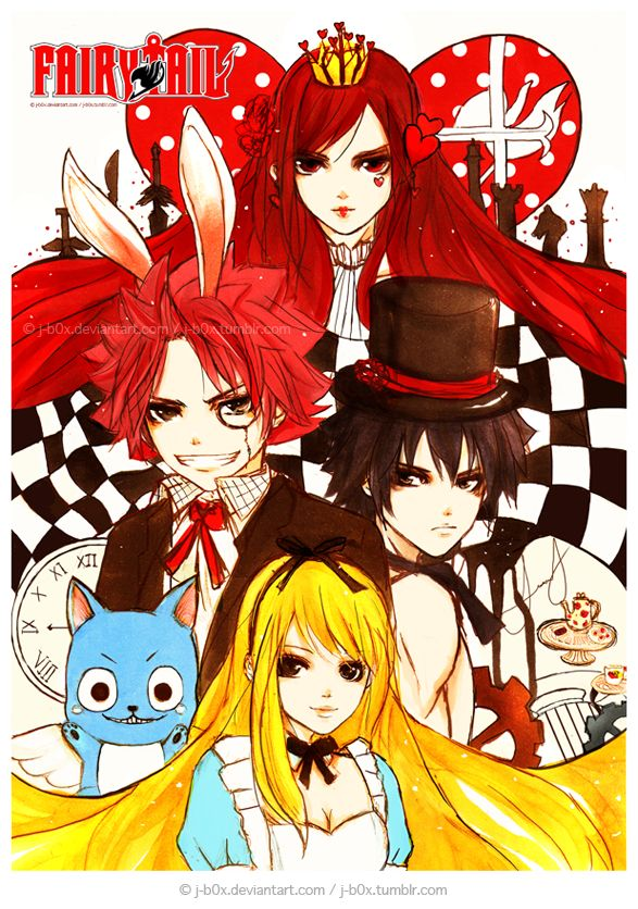 """Fairy Tail Fairy Tale by j-b0x.deviantart.com on @deviantART - Characters from """"Alice in Wonderland""""."""