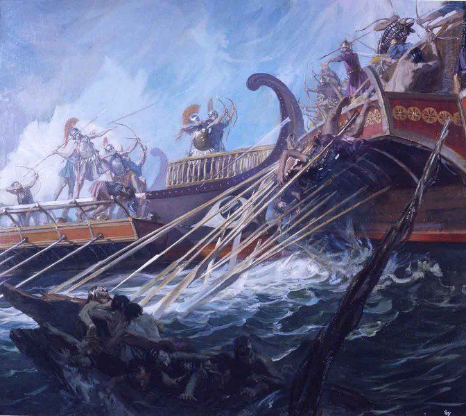 "The ancient #Greek historian, Herodotus (Book 7, Chpt 50) ""Great things are won by great dangers.""  (c) Stanley Meltzoff - Battle of Salamis  John Trikeriotis (@spartanwarriors) on Twitter"