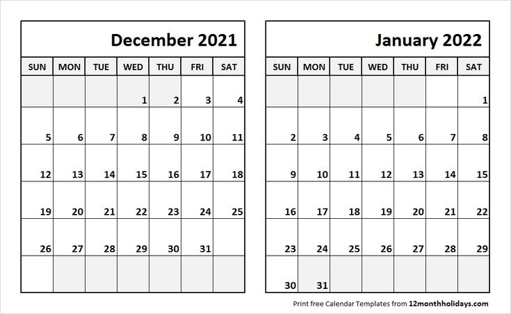 dec 2021 jan 2022 calendar template