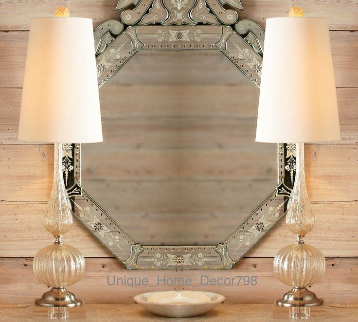 PAIR New Venetian Glass Buffet Table Lamp Set Murano Living Room Bedroom Office