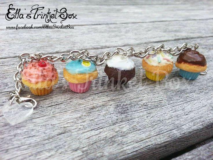 Handmade Cupcake Charm Bracelet  Available at www.facebook.com/EllasTrinketBox