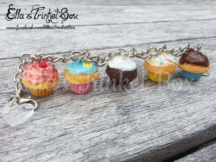 Handmade Cupcake Charm Bracelet  Available at www.facebook.com/EllasTrinketBox