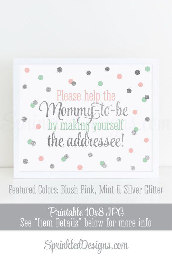 Baby Shower Address an Envelope Sign Envelope Addressing Station Blush Pink Mint Silver Glitter Printable Baby Girl Baby Shower Decorations by SprinkledDesigns.com