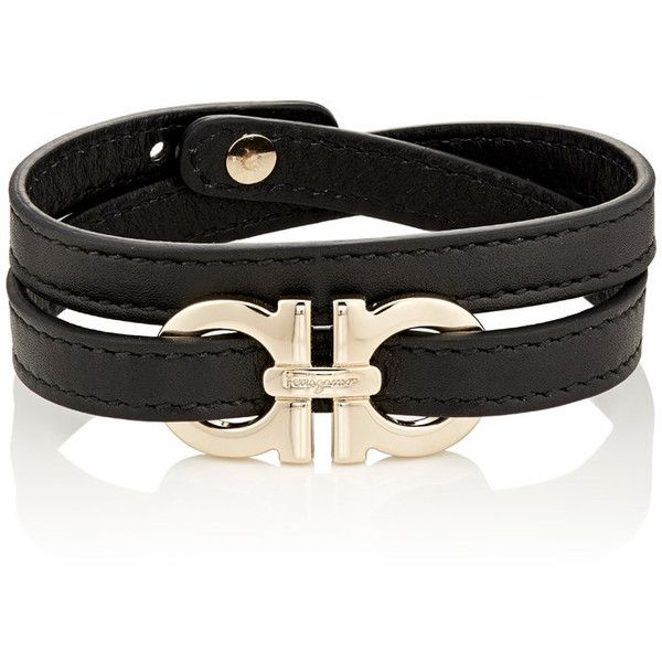 Salvatore Ferragamo Men's Double-Wrap Bracelet (12,470 DOP) ❤ liked on Polyvore featuring men's fashion, men's jewelry, men's bracelets, black, mens engravable leather bracelets, mens watches jewelry, mens leather bracelets, mens engraved bracelets and mens bracelets