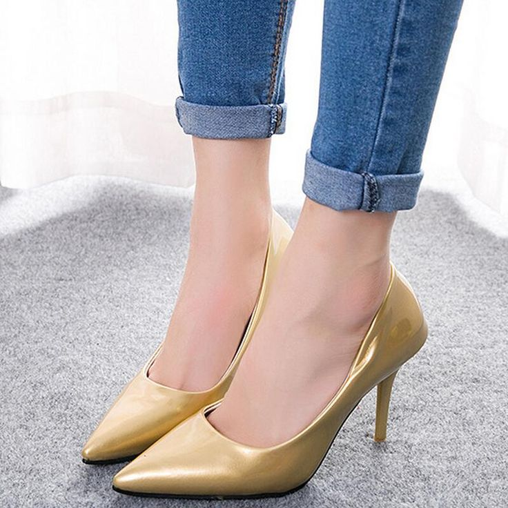 9.5CM New Fashion High Heels Pumps OL Office Solid Women Sexy Ladies Pumps Slip on Silver Pumps Shoes Pointed Toe Stilettos Gold