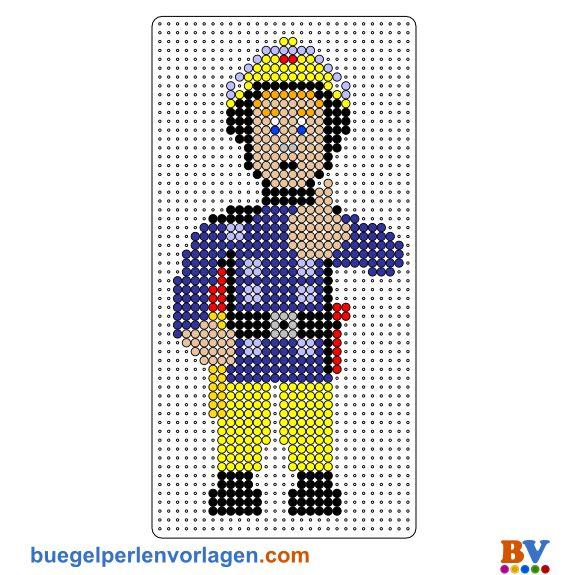 Feuerwehrmann Sam Bügelperlen Vorlage