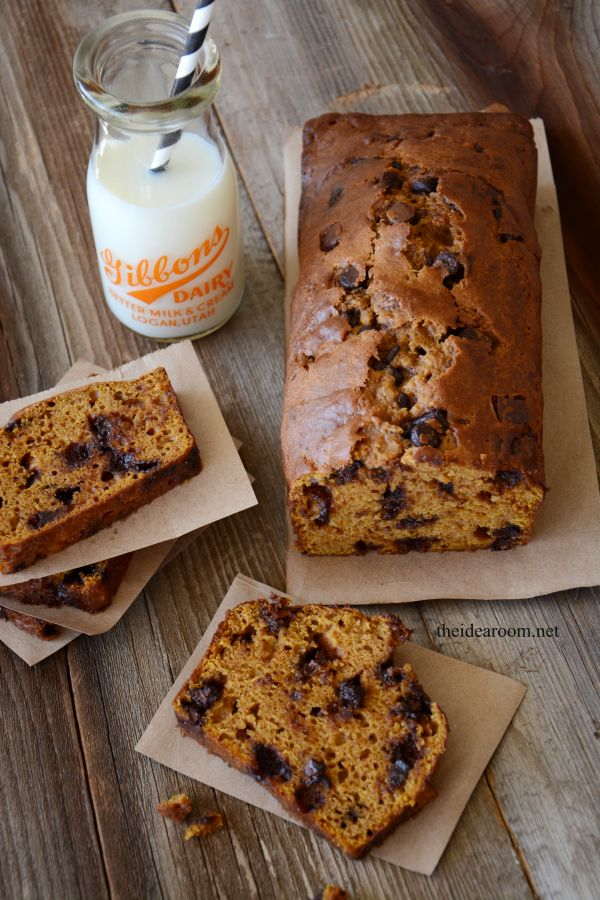 Pumpkin Chocolate Chip Bread (Tera's Note: delicious!  Recipe is big enough to freeze a loaf for later)