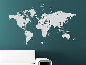 Wandtattoo Uhr mit der Weltkarte als Ziffernblatt - Die Wanduhr kommt als XXL Deko-Idee mit einem Ziffernblatt von mehr als 1 Meter Größe an die Wand.