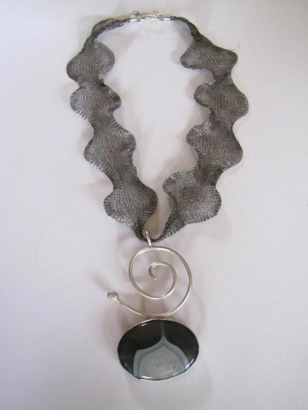 925 sterling silver necklace with agate stone water, is made by Berrin Duma