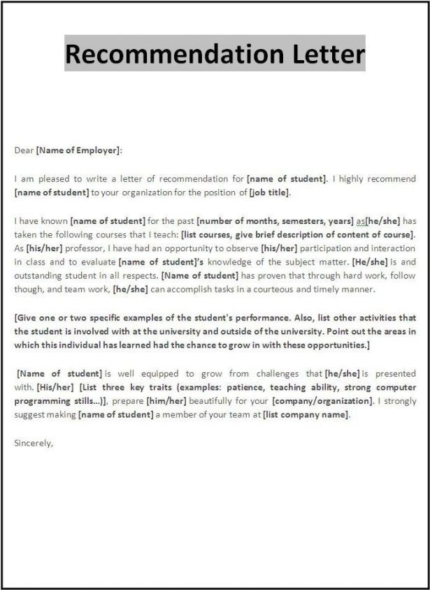 Employee Letter Of Recommendation Template Business Plan Templat