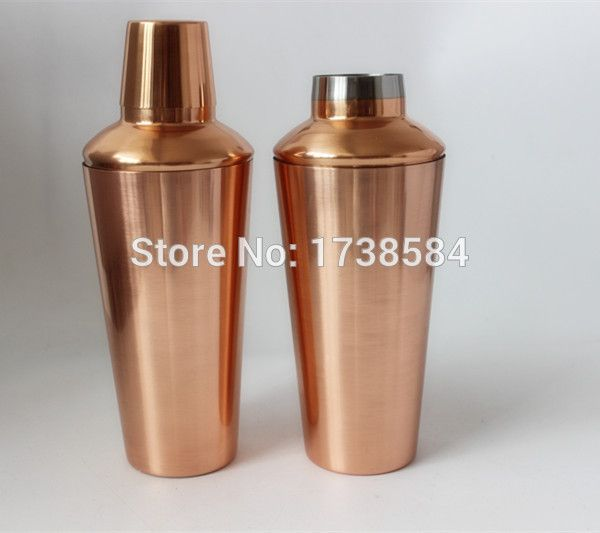 new Stainless steel copper plated cocktail shaker 750ml hot sailing shake bottle manufacturer high quality container
