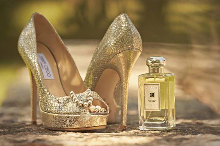 Gold high heel Jimmy Choo with peep-toe