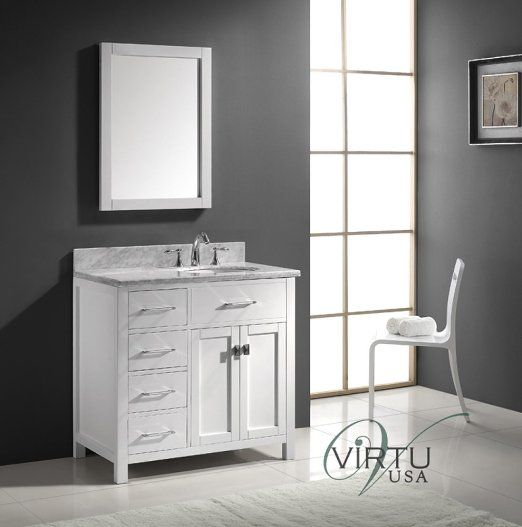 Virtu usa ms 2136l wmro wh 36 inch caroline parkway single Virtu usa caroline 36 inch single sink bathroom vanity set
