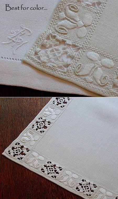 Em's Heart Antique Linens -Antique Italian Linen Embroidered Tablecloth