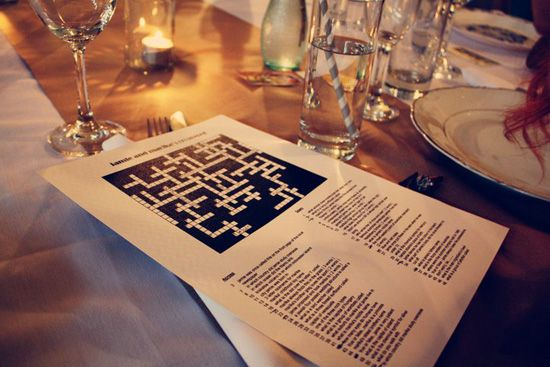 A unique and creative wedding reception game for the graphic design couple - a DIY handmade crossword puzzle!