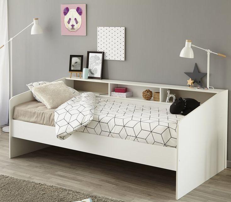 jugendbett sleep 90 x 200 cm wei es modernes design mit stauraum und ablagefl che in 2019