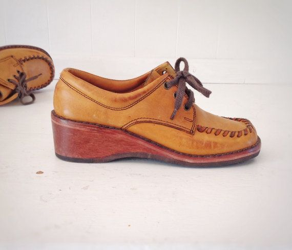 Vintage Leather Oxfords Shoes|Boho Leather Wooden Heeled Shoes|Vintage Town-Flair Ladies Wedge Shoes|Ladies Boho Leather City Shoes on Etsy, $115.00