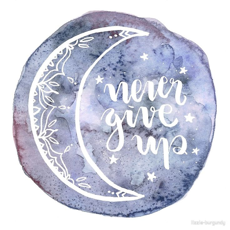 Never Give Up Watercolor Moon von lizzie-burgundy