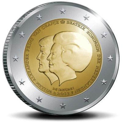 2 euro munt abdicatie koningin Beatrix, komst koning Willem Alexander, februari 2013