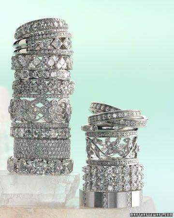 Thick vintage diamond wedding bands.