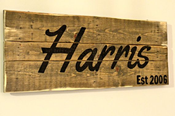 Palletwood signs are made to order. You provide the words, select the font, etc. Perfect for an anniversary gift or other special occasion. Dimensions vary depending on the pallets in stock.
