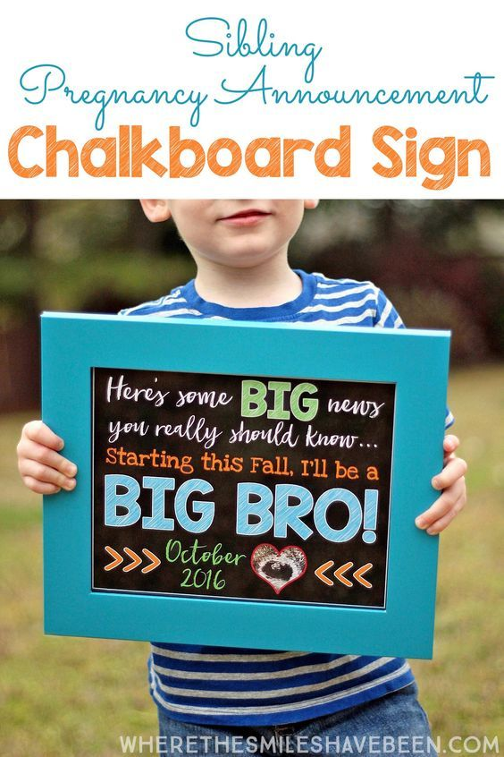 Oh my goodness! This is so adorable, really simple, and the perfect way to get big brother or sister in on the fun! Tutorial showing how to make a DIY Sibling Pregnancy Announcement Chalkboard Sign | Where The Smiles Have Been