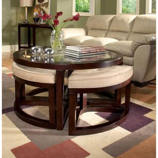Juniper Mink Brown Wood Round Cocktail Table and 4-piece Stools Set | Overstock.com
