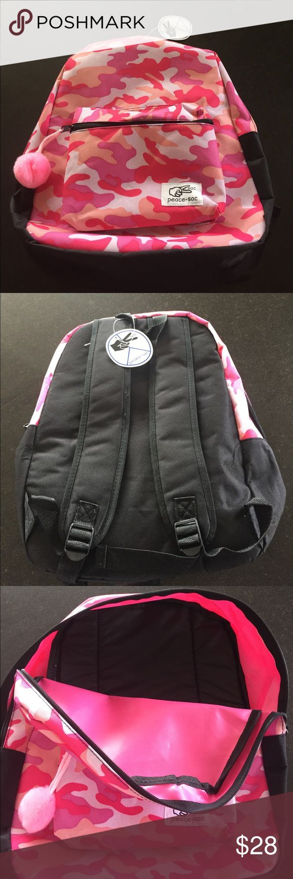 Pink camo backpack Peace-sac pink camo backpack with pink pom pom on outer pocket zipper pull.  Padded back and straps.  NWT peace-sac Bags Backpacks