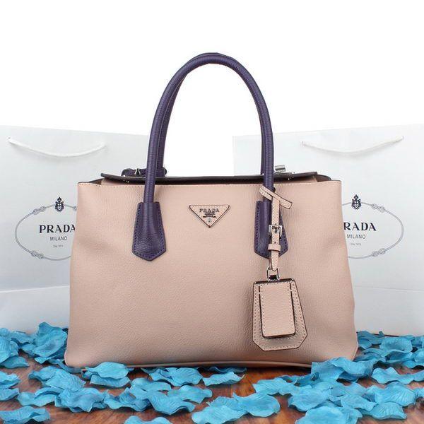 Cheap Designer Handbags Prada Twin Original Goat Leather Cuir Tote Bag  BN8095 Light Purple&Purple