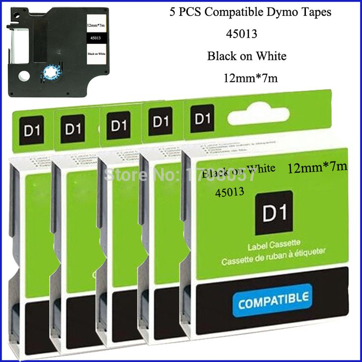(Free Shipping) 5PCS/LOT Black on White Adhesive Compatible 12mm Dymo D1 Label Printer Tape 45013