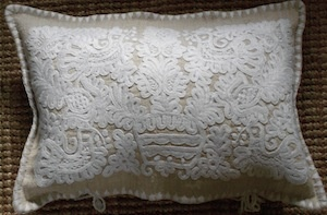 hand embroidered linen cushion from Transylvania