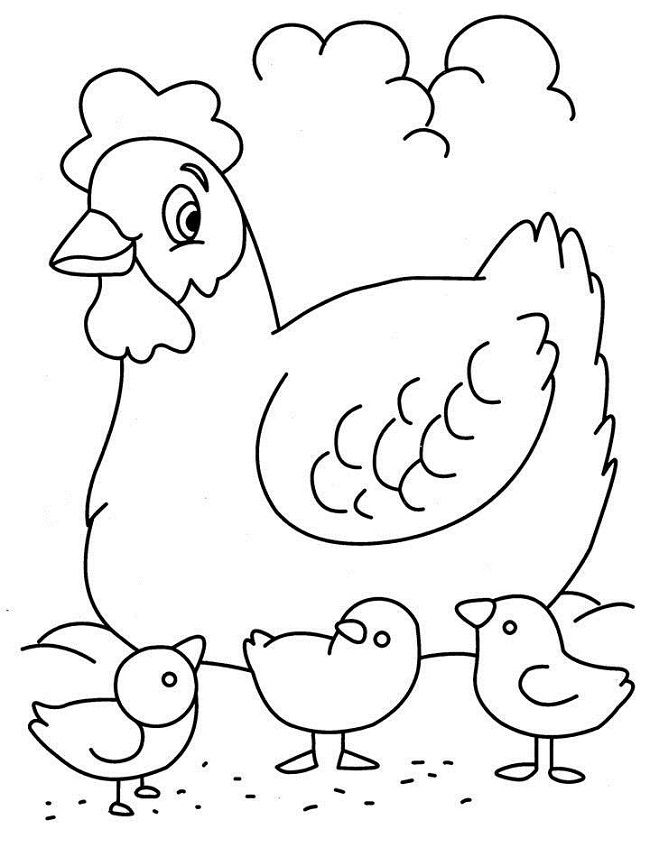 Mother Hen Coloring Pages Cutouts Chicken coloring