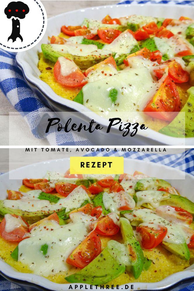 Rezept für schnelle Polenta–Pizza aus Maisgrieß mit Avocado und viel Käse von dem Foodblog applethree.de
