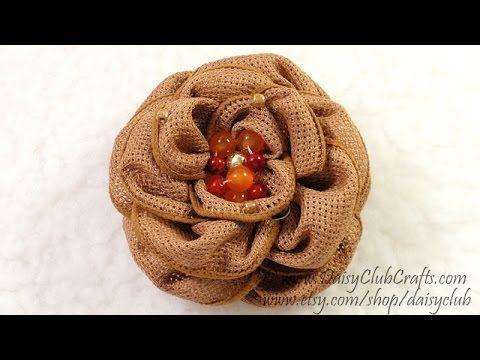 DIY Easy Make Ribbon Flower, Tutorial, How to Make - YouTube