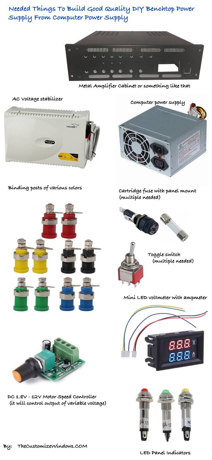 Diy Benchtop Power Supply Atx List Of Needed Components Electrical Projects Hobby Electronics Diy Electronics