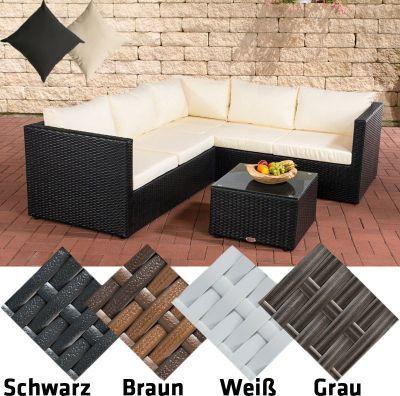 Poly Rattan Lounge Set LIBERI, Aluminium Gestell (3er Sofa + 2er Sofa +  Tisch 55 X 55 Cm + 9 Cm Polster / Kissen) Jetzt Bestellen Unter: ...
